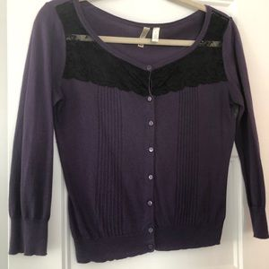 Purple cardigan with lace detail